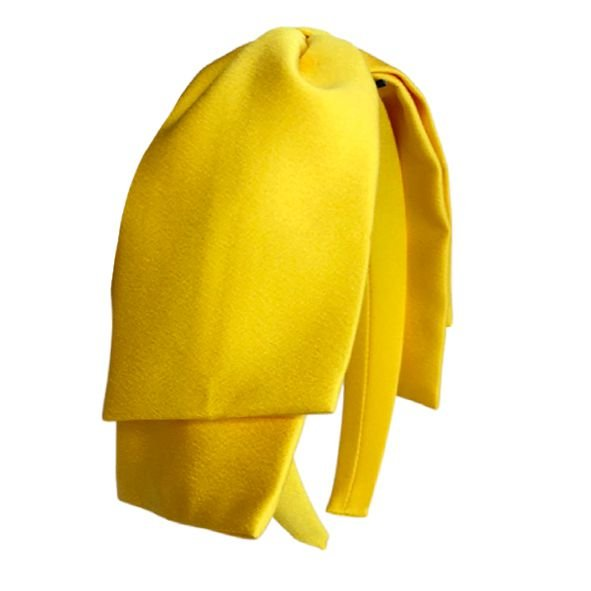Tiara Maxi Laço Camadas Cetim Amarelo