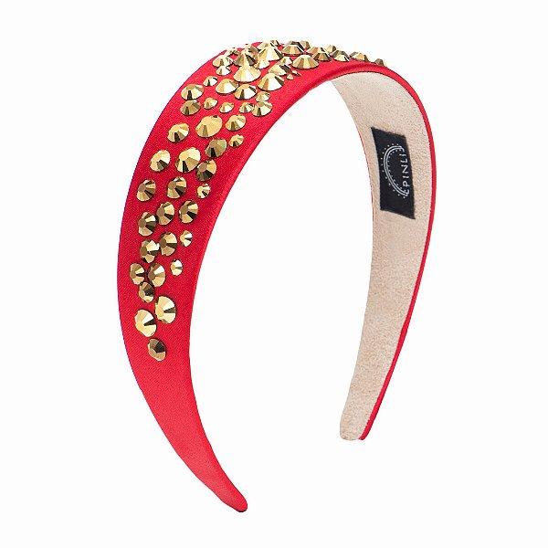 Tiara Golden Cetim Sparkle Vermelha