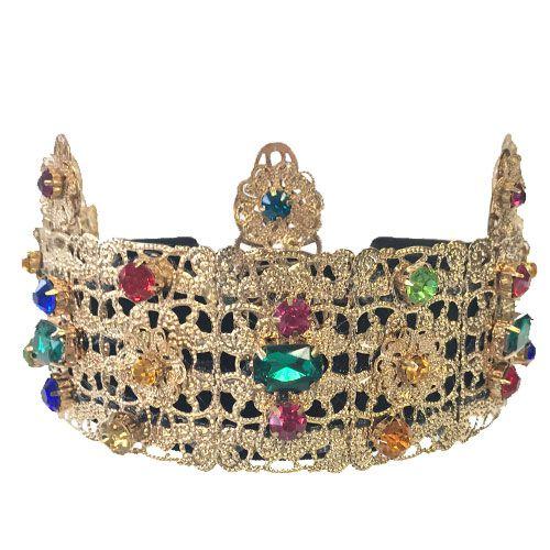 Tiara de Coroa Dourada com Pedras