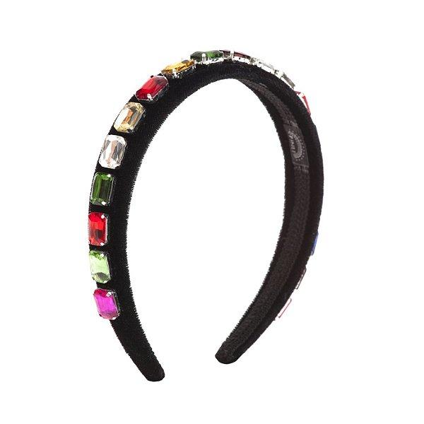 Tiara Precious Stones Colorida Black Velvet