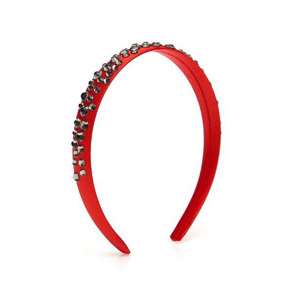 Tiara de Brilho Cetim Sparkle Vermelha