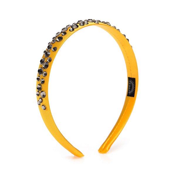 Tiara de Brilho Cetim Sparkle Amarela