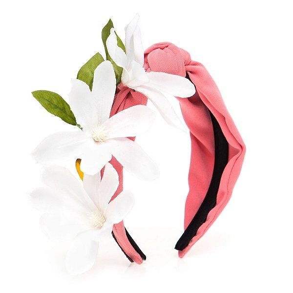 Turbante Rosa Com Flores Laterais