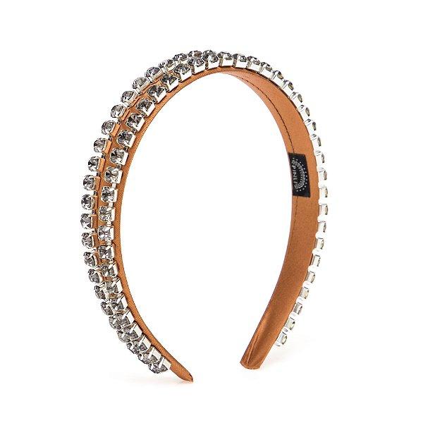 Tiara Cetim Double Chain Lilás