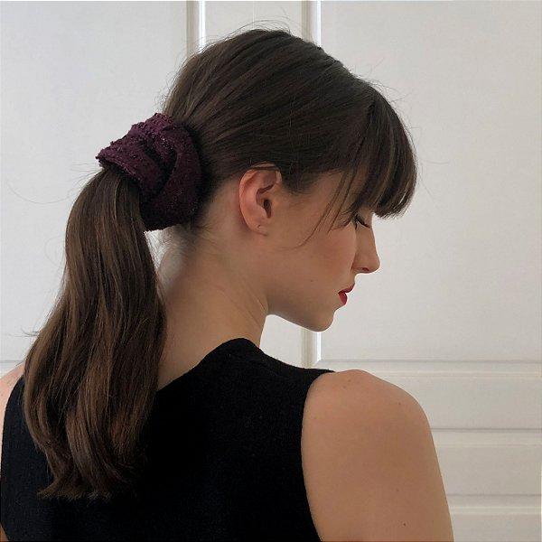 Scrunchie Pinli de Tweed Roxo