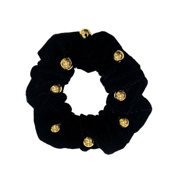 Elástico - Scrunchie de Veludo Preto com Bolinhas Douradas