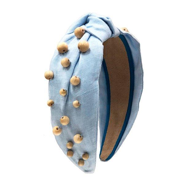Turbante Azul Claro de Linho com Bolinhas de Madeira