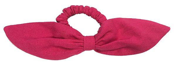 Elástico de Laço Fino de Linho Rosa Pink