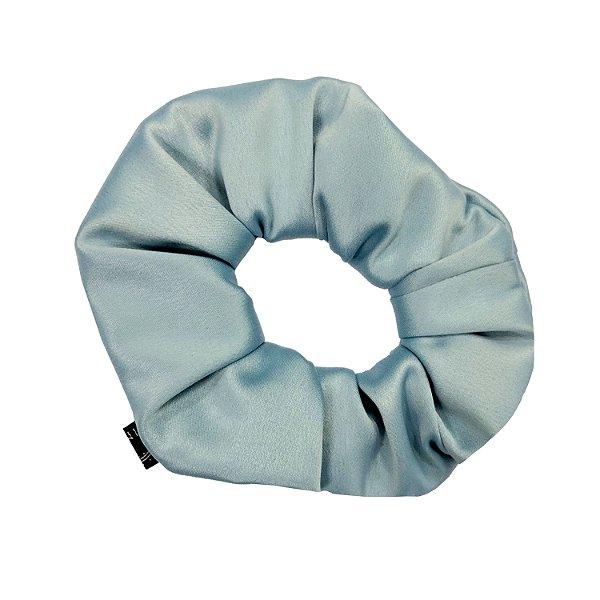 Scrunchie - Elástico de Crepe de Seda Azul Claro