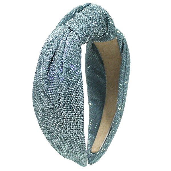 Turbante de Lurex de Brilho Azul Claro