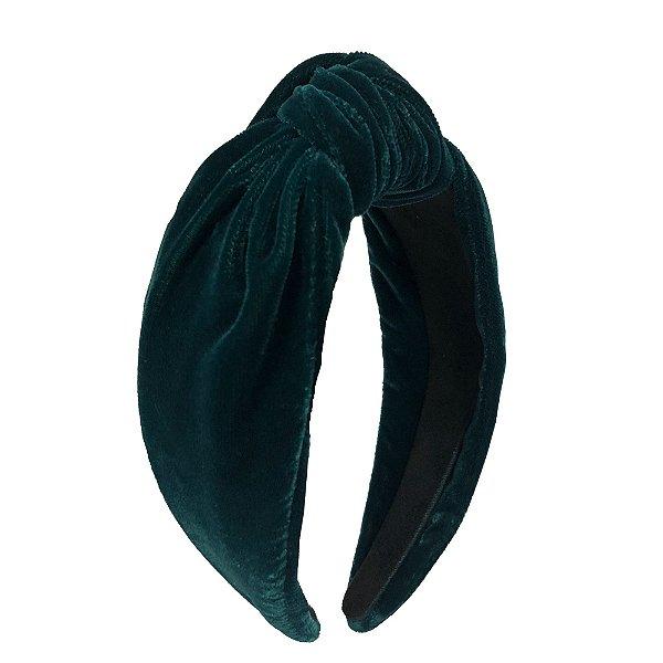 Turbante Pinli de Veludo Verde Escuro