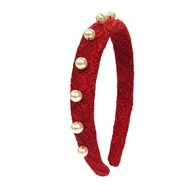 Tiara Tweed Vermelha Fileira de Pérolas