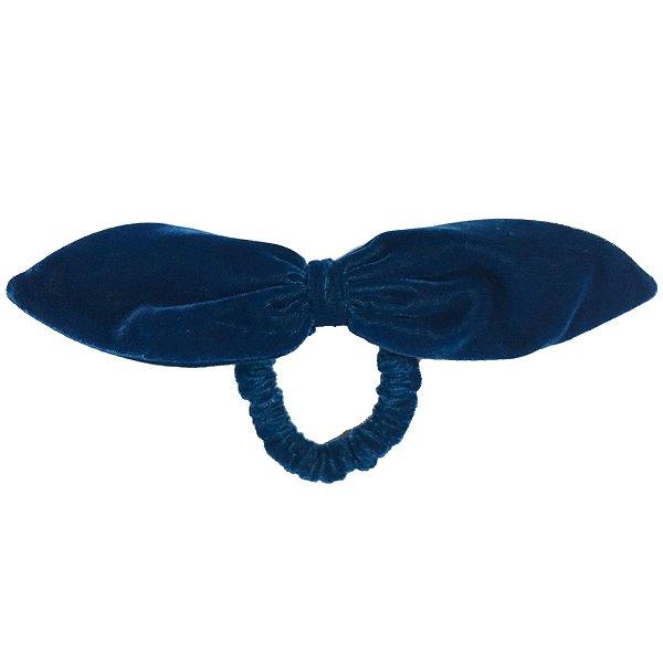 Elástico de Laço Fino de Veludo Azul Petróleo