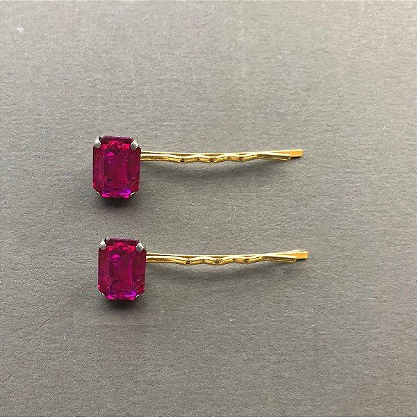 Dupla de Grampos de Cristal Pink