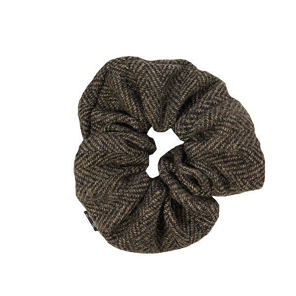 Elástico - Scrunchie de Lã Zig Zag Marrom
