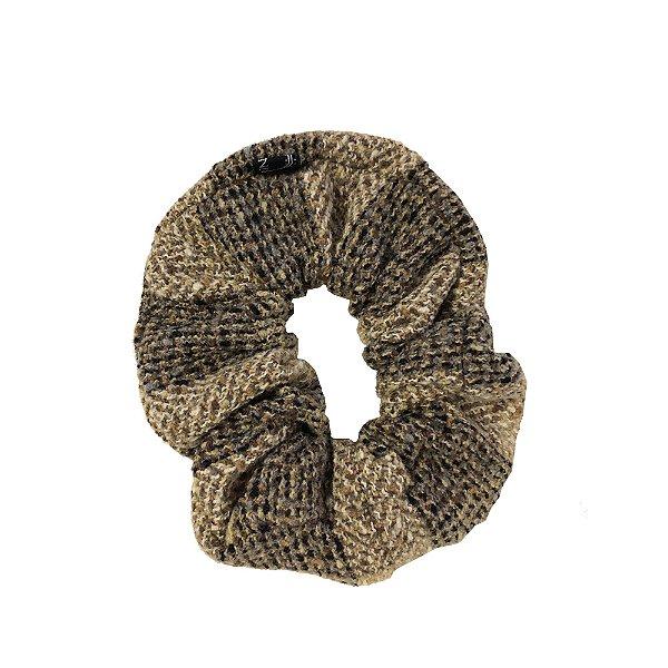 Elástico - Scrunchie de Lã Xadrez Bege