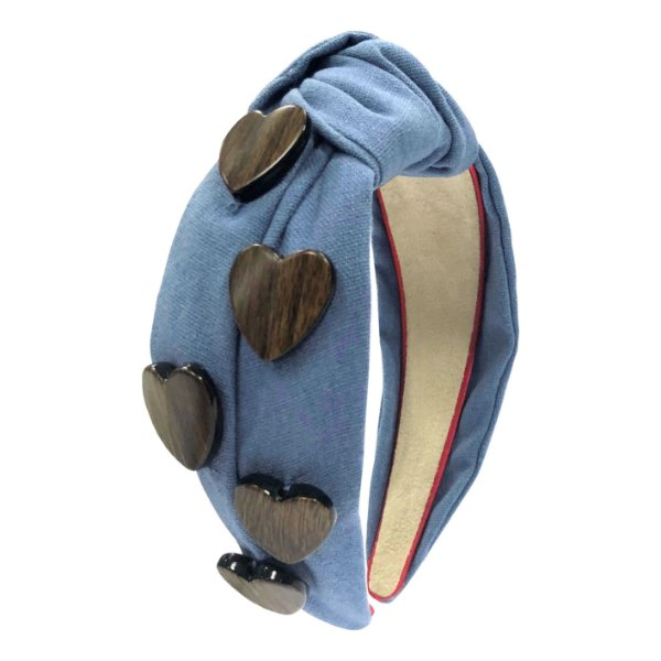 Turbante Azul com Corações Madeira