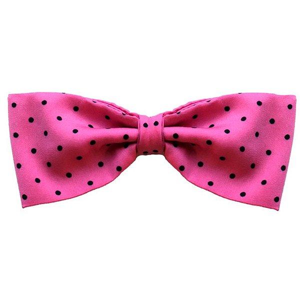 Laço Infantil - Pink com Bolinhas Pretas