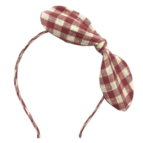 Tiara Infantil  Fina com Laço Lateral  -  Xadrez Rosa e Branco