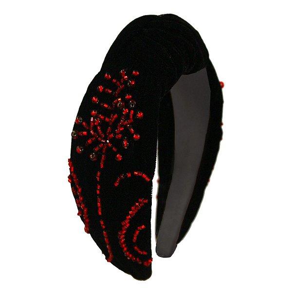 Turbante de Veludo Preto Bordado em Vermelho