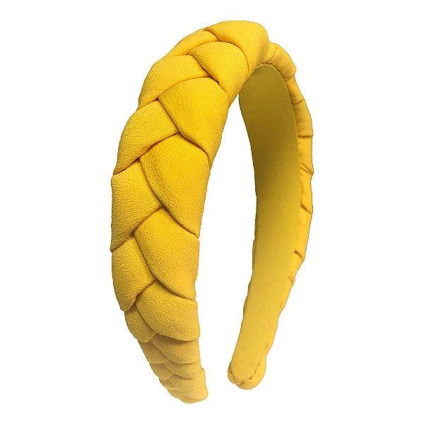 Tiara Alta de Trança de Crepe Amarelo