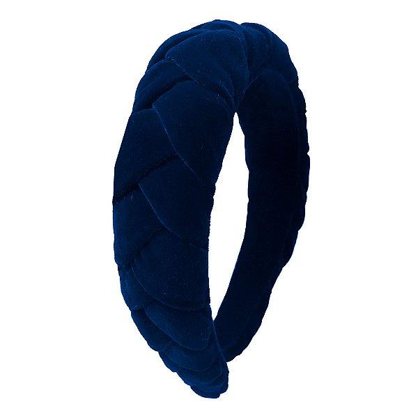 Tiara de Trança de Veludo Azul Marinho