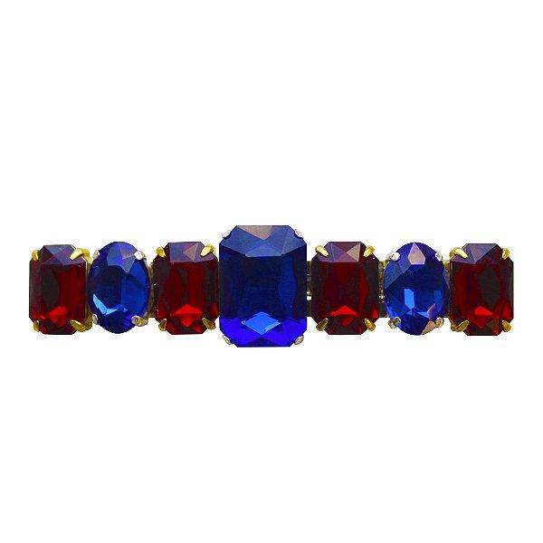 Fivela com Cristais Azul Royal e Vermelho