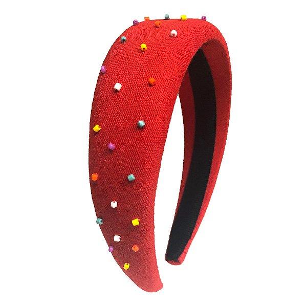 Tiara Alta Vermelha  Salpicada com Miçangas Coloridas