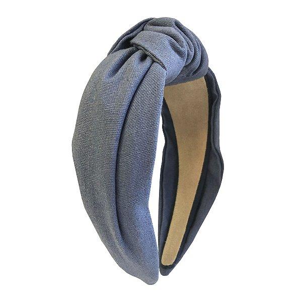 Turbante de Linho Liso Azul Claro Jeans