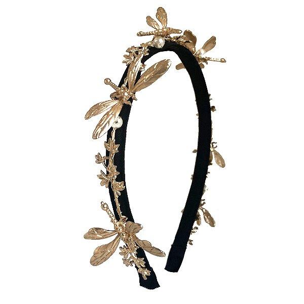 Tiara Fina Preta com Arco Dourado de Folhas e Libélulas