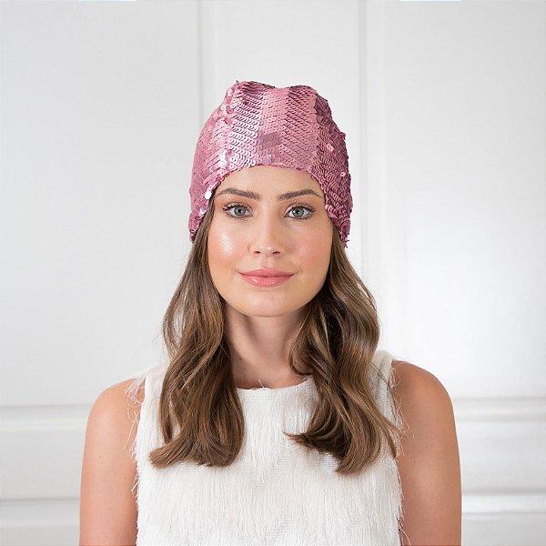 Turbante Fechado Touca de Paetê Rosa