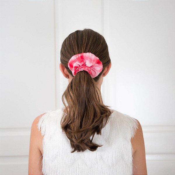 Elástico - Scrunchie Estampa Tie Dye Vermelho