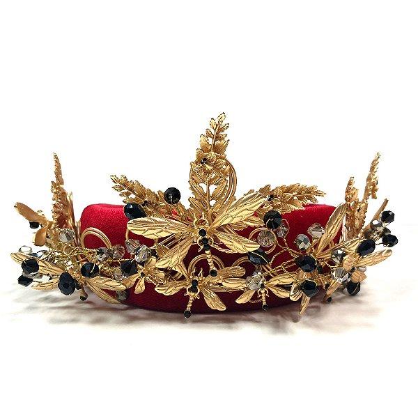 Maxi Coroa de Folhagem Dourada e Libélulas