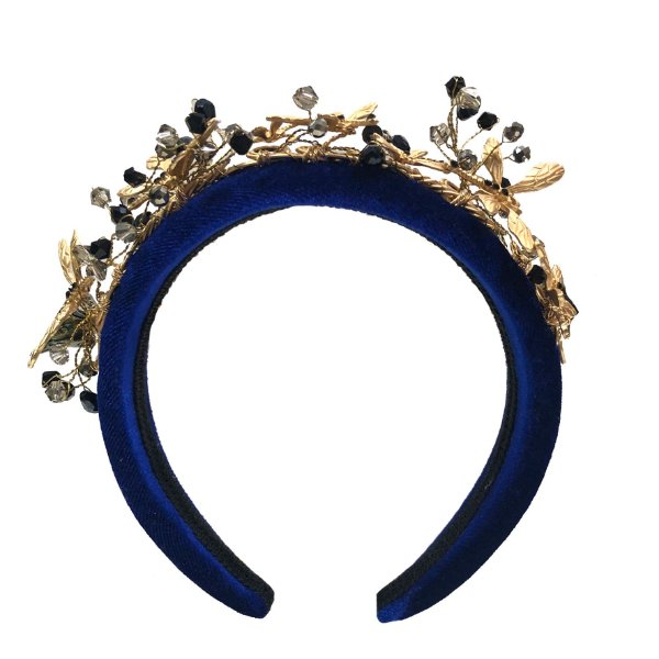Coroa de Libélulas Dourada e Pedras Pretas