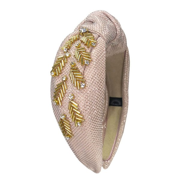 Turbante de Lurex Rosa Light  com Bordado Dourado