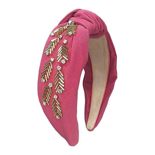 Turbante de Crepe Rosé com Bordado Dourado