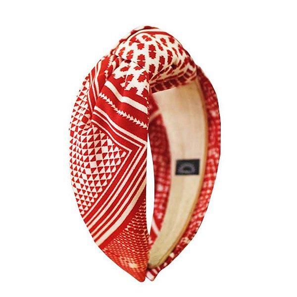 Turbante Estampado Vermelho e Branco