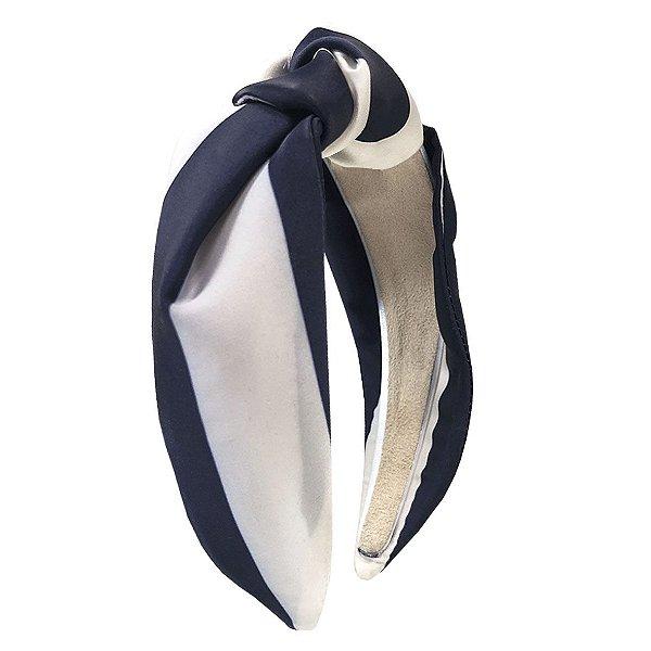Turbante Listrado Branco e Azul Marinho