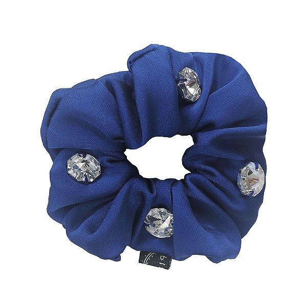 Elástico - Scrunchie Azul Royal com Cristais