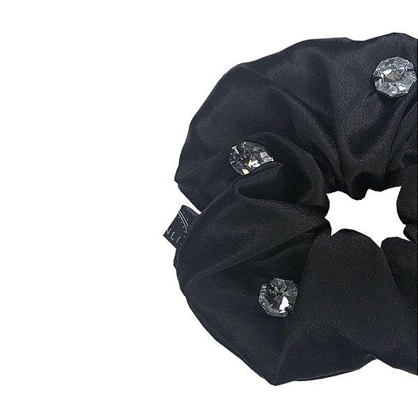 Elástico - Scrunchie de Cetim Preto com Cristais
