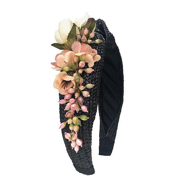 Turbante de Ráfia Preto com Flores