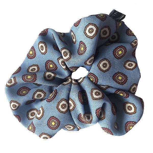 Elástico - Scrunchie Estampado Azul Claro