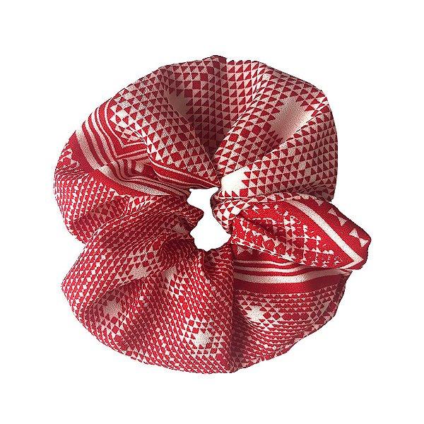 Elástico - Scrunchie Estampado Vermelho e Branco