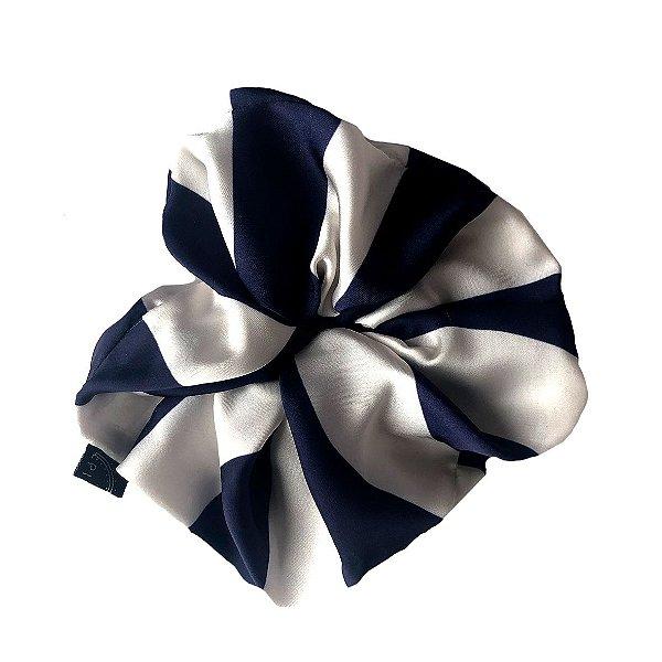 Elástico - Scrunchie Listrado Azul e Branco