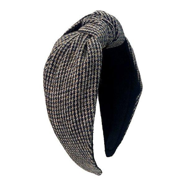 Turbante de Lã Tweed Azul e Marrom