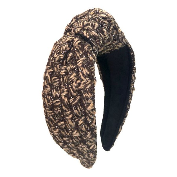 Turbante de Lã Maxi Tweed Tons de Marrom