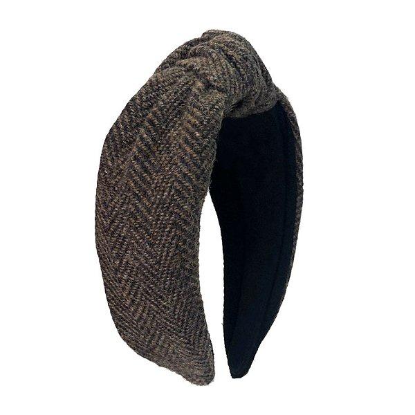 Turbante de Lã  Tweed Marrom Escuro