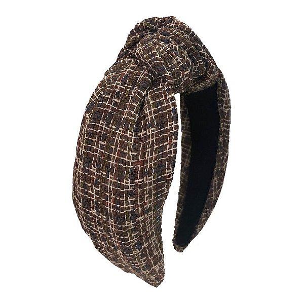 Turbante de Tweed Xadrez Branco e Marrom