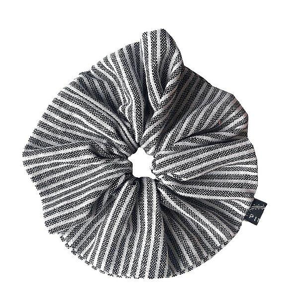 Scrunchie - Elástico de Linho Listras Cinza e Branco