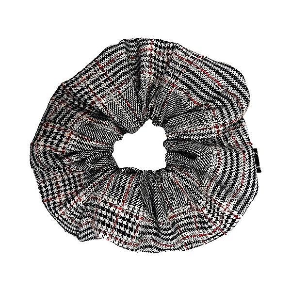 Elástico - Scrunchie de Tweed Branco, Preto e Vermelho